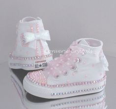 Baby/Toddler/Girls Custom Crystal *Bling* Converse - Double Row Crystals All Infant Sizes Baby Boots, Baby Girl Shoes, Girls Shoes, Bedazzled Converse, Baby Converse, Baby Bling, Bling Shoes, Baby Sneakers, Custom Shoes