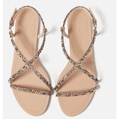 Zara Strappy Sandals With Gem Detail ($50) ❤ liked on Polyvore featuring shoes, sandals, flats, strappy flats, flat shoes, zara flats, flats sandals and strap flat shoes