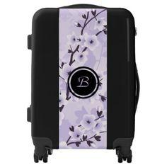 Floral Cherry Blossoms Purple Monogram Luggage - accessories accessory gift idea stylish unique custom