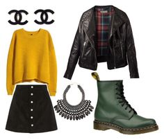 """""""Your 90's are showing."""" by xoxo-bng on Polyvore featuring Dr. Martens, H&M and AG Adriano Goldschmied"""