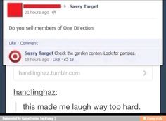 """I love it when big companies reply to posts on social media XD """"Sassy Target"""""""