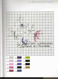 0 point de croix grille et couleurs de fils fleurs anemones de marie therese st aubin