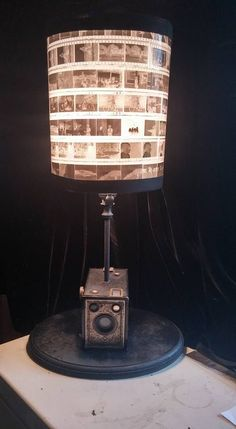 1930's Vintage Camera Box Lamp with a DIY Lampshade made of 35 mm negatives #Lamps&LightingIdeas