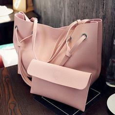 Soft Leather Women Bag Set Luxury Brand 2017 Fashion Designer Female S – ivroe Tote Purse, Tote Handbags, Purses And Handbags, Tote Bags, Women's Bags, Hobo Bag, Crossbody Bags, Sacs Design, Black Pink