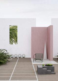 Amazing and magical garden idea. Beautiful blush pink walls with white paint and green ferns. Patio slabs with gravel. Modern Outdoor Living, Modern Patio, Garden Modern, Interior Stylist, Interior Design, Piano, Estilo Interior, Patio Slabs, Design Blog