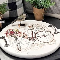 It might be ridiculously cold here in Michigan, but we are thinking Spring! Decoupage Furniture, Painted Furniture, Diy Furniture, Serving Tray Wood, Wood Tray, Wooden Crafts, Diy Wood Projects, Diy Painting, Painting On Wood