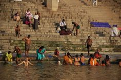 Varanasi-visited the ghats at dawn to see the people bathing in the Ganges in virtual and ritual purification and the cremation of the dead.
