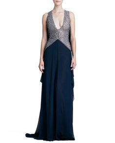 Deep-V-Neck Beaded-Bodice Gown by Naeem Khan at Neiman Marcus.
