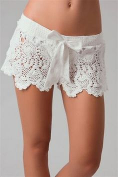 LETARTE Crochet Bow Shorts White $119.99 SHIPPED FREE ~~~ALSO FREE LOCAL DELIVERY NOW AVAILABLE WITHIN 10 MILES OF SANTA MONICA, CALIFORNIA ZIP CODE 90404~~~