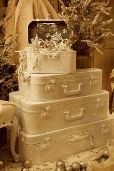 White suitcases