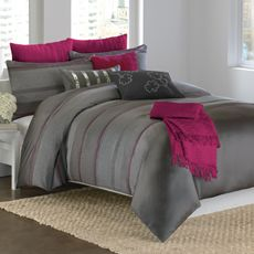 DKNY™ City Pulse Comforter - Bed Bath & Beyond- so cute! Love the natural gray color with the bright pink!