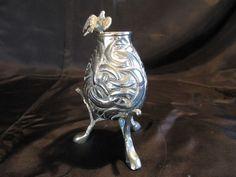 Antique Silver Plated Bronze Legged Flower Vase W/ Bird