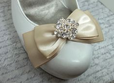 Bridal Shoe Clips in Champagne with sparkling by ShoeClipsOnly, $32.00