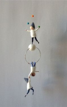Waldorf inspired needle felted mobile acrobat pixies felted gnomes by Kids Room Design acrobat felted gnomes Inspired Mobile needle pixies Waldorf Felt Crafts, Kids Crafts, Diy And Crafts, Arts And Crafts, Waldorf Crafts, Waldorf Dolls, Needle Felted, Wet Felting, Felt Fairy