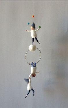 Waldorf inspired needle felted mobile acrobat pixies felted gnomes by Kids Room Design acrobat felted gnomes Inspired Mobile needle pixies Waldorf Felt Crafts, Kids Crafts, Diy And Crafts, Craft Projects, Sewing Projects, Waldorf Crafts, Waldorf Dolls, Needle Felted, Wet Felting