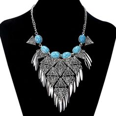 Bohemian Statement Necklace Boho Silver Necklace Triangle Tassel Turquoise Necklace Gypsy Necklace