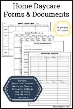Must-have home daycare business and emergency forms available for new and experienced providers! This set includes meals served log, emergency drill logs, NSF notices, & 12 more essential documents. #homedaycare #homedaycareforms #familychildcare #daycareowner #childcareowner #daycarelife Preschool Schedule, Preschool Lesson Plans, Preschool At Home, Home Daycare Schedule, Classroom Schedule, Daycare Forms, Kids Daycare, Daycare Ideas, Weekly Lesson Plan Template