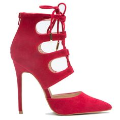 #women's #shoes Red Lace Up Heels – 925 Blueprint