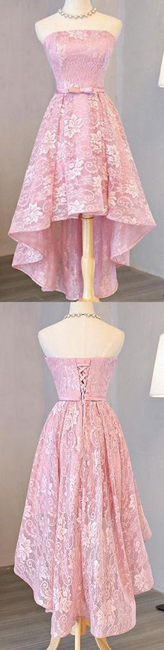 High Low Homecoming Dress, Pink Homecoming Dress, Prom Dresses Lace, Homecoming Dress A-Line Homecoming Dresses 2018 Simple Homecoming Dresses, High Low Prom Dresses, Dresses Short, Pink Prom Dresses, A Line Prom Dresses, Pretty Dresses, Girls Dresses, Prom Gowns, Dress Prom