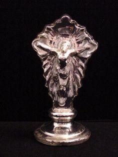 antique poor man's silver (mercury glass) crucifix