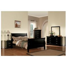 Acme Furniture Louis Philippe III Black 4-Piece Bedroom Set