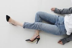 Minimal + Classic: from above, jeans, grey, white t + black heels