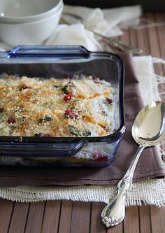 This butternut squash and cranberry gratin is creamy, cheesy and perfectly crunchy on top. You'd never guess it's dairy free!