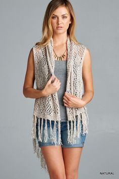 Crochet Vest - Natural - Knitted Belle Boutique  - 1