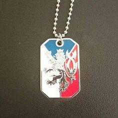 Czech flag bohemian lion coat of arms pendant dog tag.
