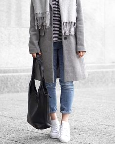 A Little Detail - Grey Striped Shirt // Grey Wool Scarf // Grey Wool Coat // Girlfriend Denim Jeans // White Sneakers // Black Tote // #outfit #winteroutfit #fashion #winterfashion #greycoat #stripes #bluejeans #boyfriendjeans #whitesneakers