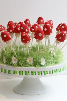 Toadstool cake pops, made for a friend's birthday party.
