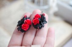 Red rose earrings Black lily jewelry Gothic earrings Dark
