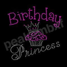 New Design Birthday Princess Hot Fix Rhinestone Transfers Fetures Cupcake and Crown