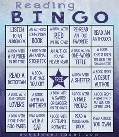 2016 Novel Heartbeat Reading Bingo Challenge