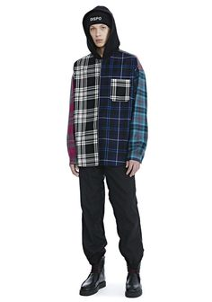 ALEXANDER WANG Wool Tartan Combo Hooded Shirt. #alexanderwang #cloth #
