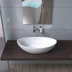 Oval håndvask i helstøbt Solid Surface.