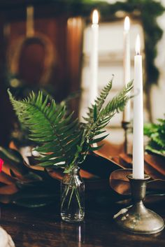 #fern, #centerpiece, #candle    Read More: http://www.stylemepretty.com/living/2014/01/07/diy-winter-terarrium/