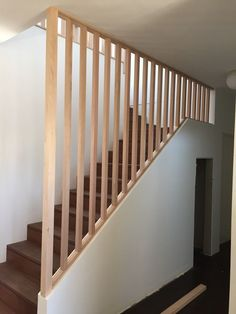 Looking for stairs & staircase inspiration? View the Budget Stairs gallery. We can design, manufacture and install timber stairs. House Staircase, Staircase Remodel, Staircase Makeover, Staircase Railings, Wooden Railing Stairs, Stair Bannister Ideas, Staircase Banister Ideas, White Staircase, Railing Ideas