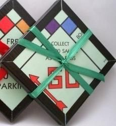 Upcycled game board coasters.  For the love of Monopoly!