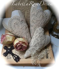 Linen hearts, shabby chic decor, vintage lace, cottage chic decor, fabric hearts