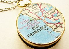 Personalized map necklace, custom map compass, personalized gift, anniversary gift him her Map Necklace, Necklaces, San Francisco Map, Map Compass, Working Compass, Custom Map, Brass Chain, Personalized Jewelry, Unique Jewelry