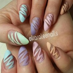 nice Day Matte Magic Nail Art – – NAILS Magazine medianet_width = medianet_height = medianet_crid = medianet_versionId = (function() { var isSSL = 'https:' == document. Easter Nail Designs, Easter Nail Art, Cool Nail Designs, Striped Nail Designs, Nail Art Stripes, Striped Nails, Nail Art Halloween, Image Nails, Gorgeous Nails