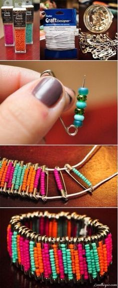 Safety pin and beads bracelet
