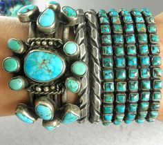 NATIVE AMERICAN TURQUOISE SILVER ROW CUFFS