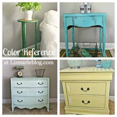 Color reference at lizmarieblog.com. This post is filled with some of my favorite paint colors to use on furniture. A great reference for paint colors for all kinds of projects.