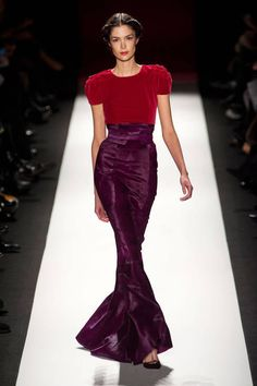 Red and purple feel like perfection at Carolina Herrera Fall 2013 runway #NYFW