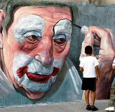 Street art, clown face.