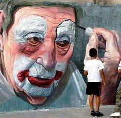 Street art, clown face.
