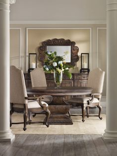 The large pedestal base on the Hooker Furniture Rhapsody Round Dining Table - Rustic Walnut was inspired by ancient European urns. This dining table. Dinning Table Design, Round Dining Table Sets, Dining Room Sets, Dining Table In Kitchen, Dining Tables, Round Kitchen, Rustic Kitchen, Hooker Furniture, Dining Furniture