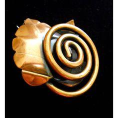 Copper Modernist REBAJES Brooch, Leaf Spiral, Signed Vintage ($29) ❤ liked on Polyvore featuring jewelry, brooches, vintage jewelry, spiral jewelry, leaf jewelry, copper jewelry and vintage broach